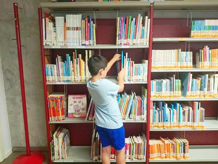Cogiendo un libro de la biblioteca