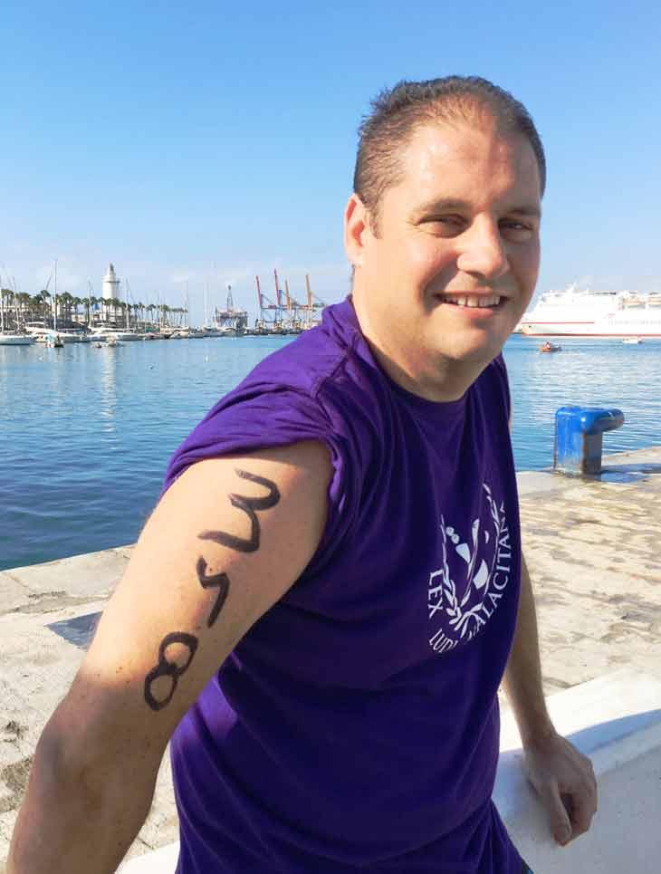 Papi en Travesía a nado del Puerto de Málaga